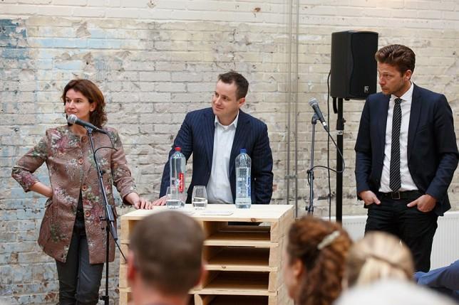 Sylvia Pijnenborg (BOEi), Yordi Grutters (gemeente Amersfoort) en Vincent Taapken (H-team)